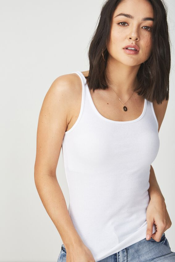 Everyday Femme Tank, WHITE