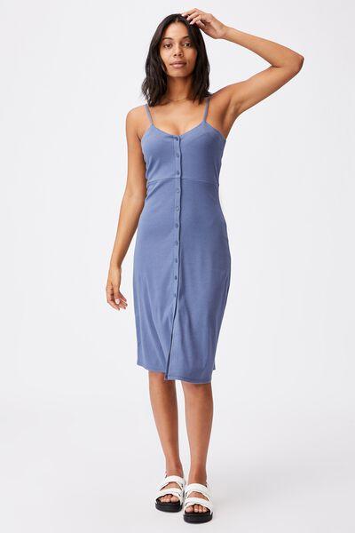 Jillian Button Through Midi Dress, COASTAL BLUE