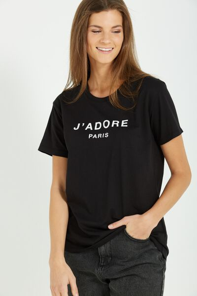 Tbar Fox Graphic T Shirt, J'ADORE/BLACK