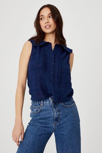 Petite Wildflower Stand Out Collar S/Less Blouse, MEDIEVAL BLUE