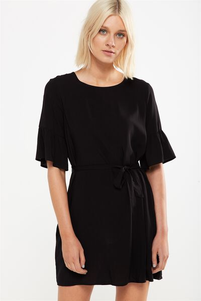 Woven Felicia Frill Sleeve Dress, BLACK