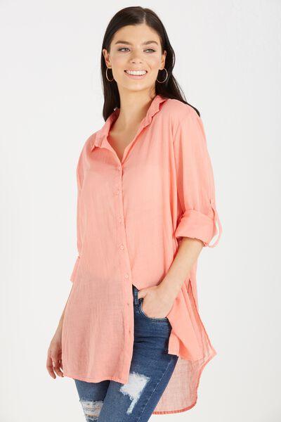 Longline Beach Shirt, PEACH SORBET