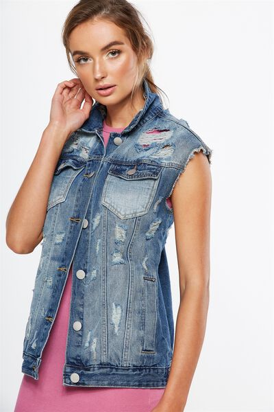 Boyfriend Trucker Denim Vest, MID BLUE DISTRESSED
