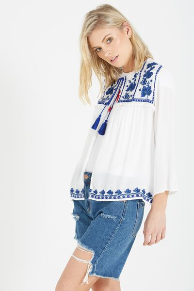 Embroidered Open Blouse, WHITE