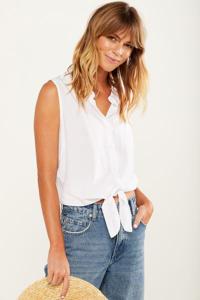 Billie Sleeveless Shirt, WHITE