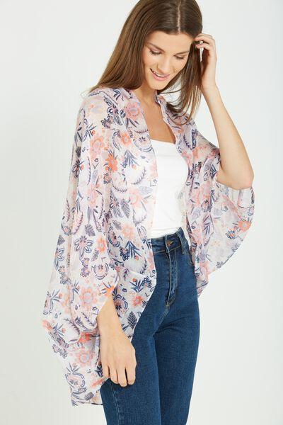 Trixy Cocoon Kimono, PERSIA FLORAL SMALL WHITE