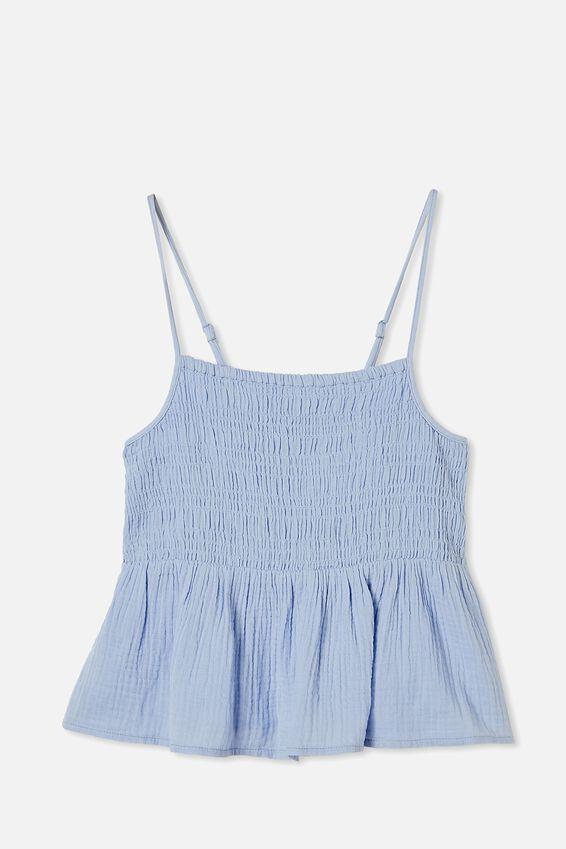 Babydoll Shirred Cami, POWDER BLUE