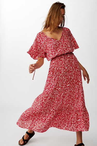 Woven Tabitha Short Sleeve Tiered Maxi Dress, BLAIR FLORAL PAISLEY SCARLET