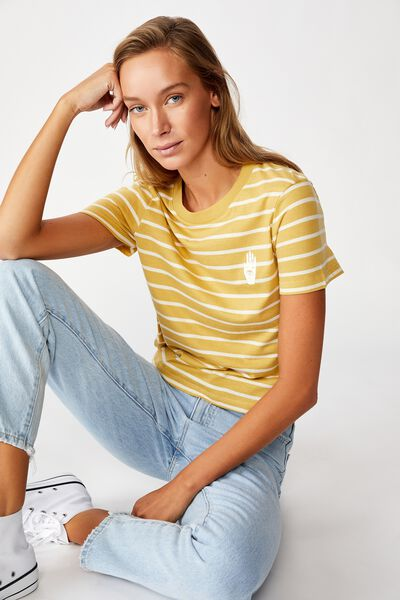 Essential Art T Shirt, PALM COCOON MARLE/GARDENIA STRIPE
