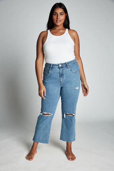 Curve Straight Stretch High Rise Jean, BRONTE BLUE RIPS