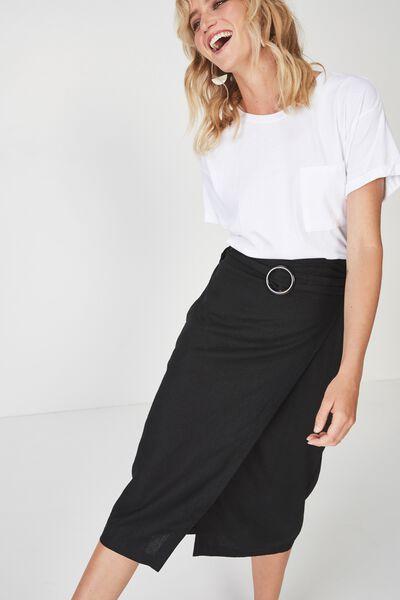 Woven Melanie Wrap Midi Skirt, BLACK - FC