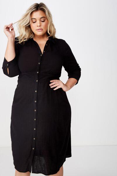 Curve Long Sleeve Maxi Dress, BLACK