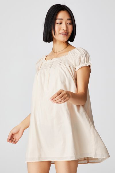 Woven Petite Erica Short Sleeve Mini Tunic, BARLEY