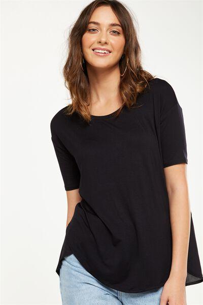 Lara Spliced Tunic Elbow Sleeve Top, BLACK