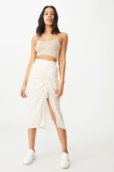 Leah Ruched Side Midi Skirt, ROBYN DITSY WHITE