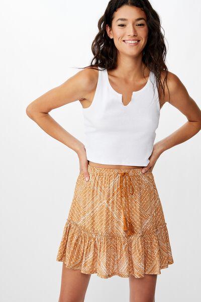 North Tiered Mini Skirt, BILLIE SPLICED GEO LION
