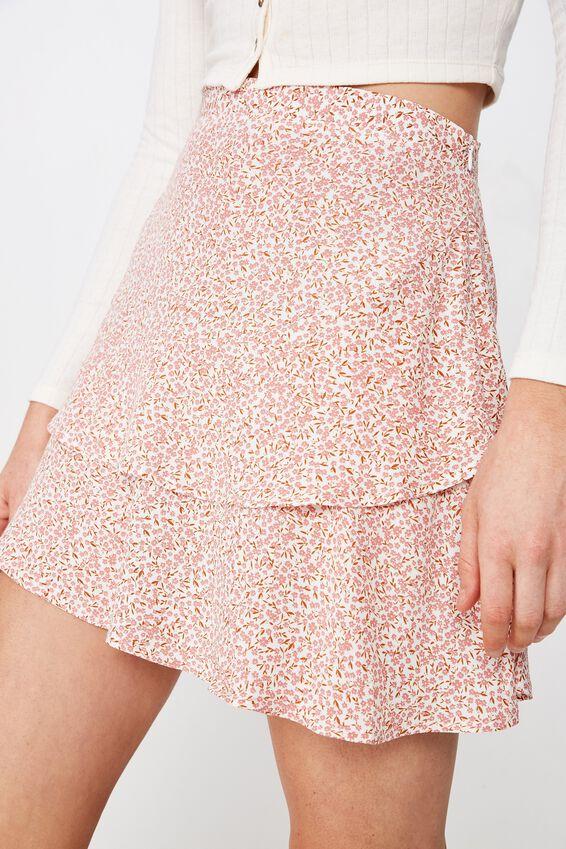 Woven Demi Frill Mini Skirt, ISSY DITSY DUSTY ROSE