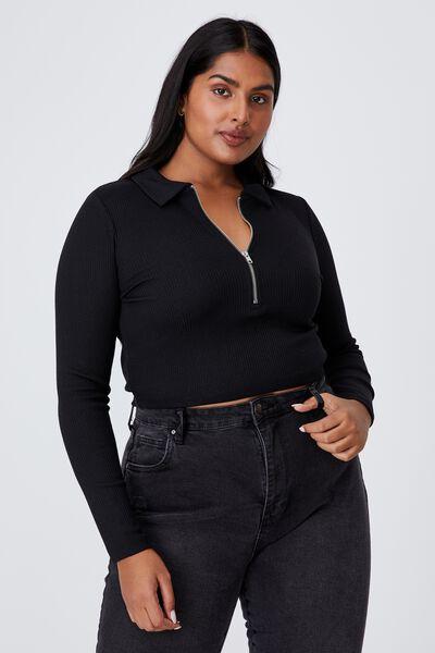 Curve Ellie Rib Zip Top, BLACK