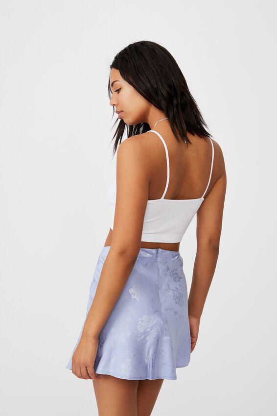 Simple Slip Mini Skirt, POWDER BLUE FLORAL JACQUARD