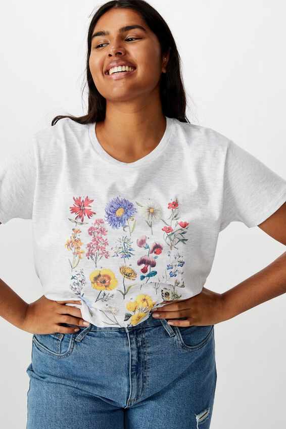 Curve Graphic Tee, GARDEN FLOWERS/SILVER MARLE