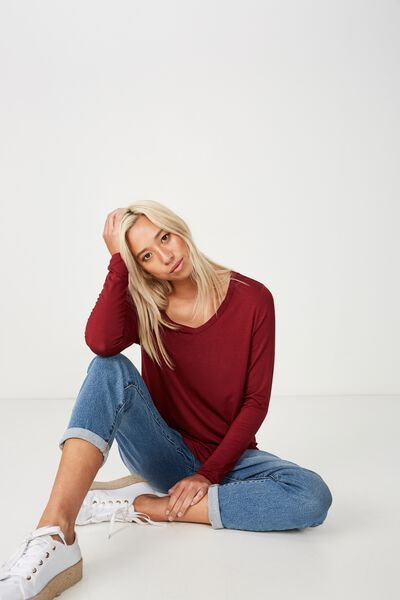 Karly Long Sleeve Top, CABERNET