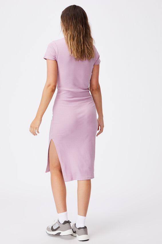 Essential Split Short Sleeve Midi Dress, SOFT MAUVE