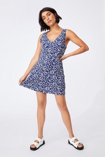 Woven Petite Danny Deep V Sleeveless Mini Dress, CORA DITSY MEDIEVAL BLUE
