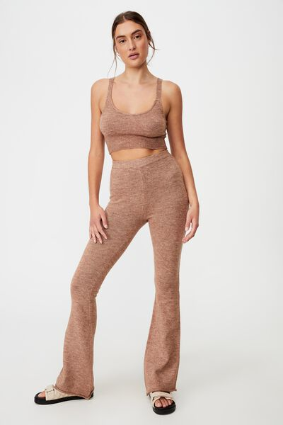 Recycled Crop Match Back Bralet, COCOA BEAN MARLE