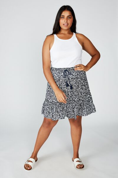 Curve North Tiered Mini Skirt, BLAIR FLORAL PAISLEY TOTAL ECLIPSE
