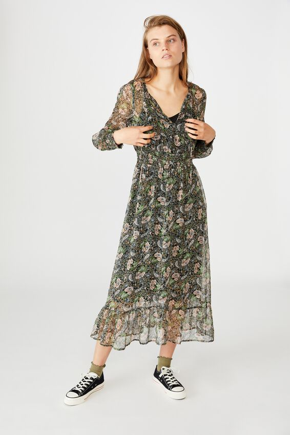 Woven Kim Long Sleeve Maxi Dress, EMILY PAISLEY FLORAL BLACK