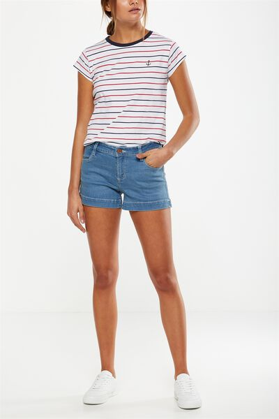 Mid Rise Classic Stretch Denim Short, NEW MID BLUE PINTUCK
