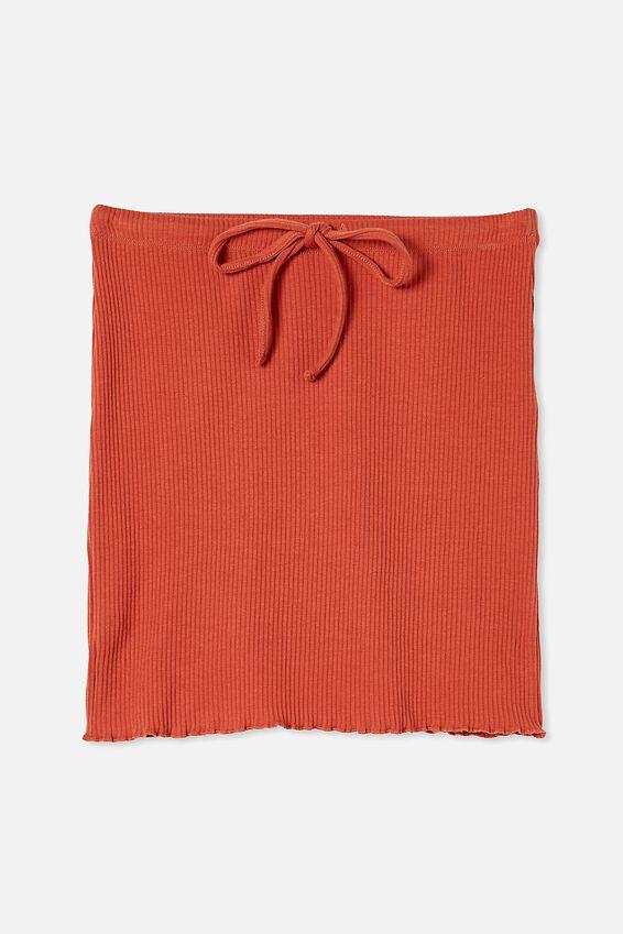 Streamline Ribbed Mini Skirt, RED CLAY