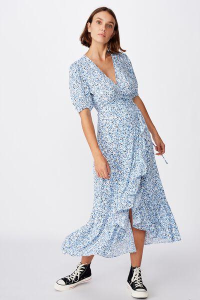 Woven Ri Ruffle Wrap Maxi Dress, BRONTE DITSY PARISIAN BLUE