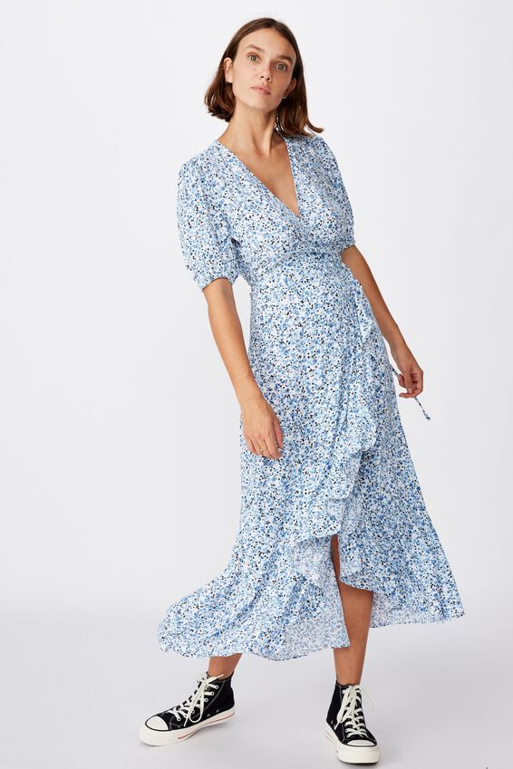 Woven Ri Ruffle Wrap Maxi Dress, BRONTE DITSY PARISIAN BLUE