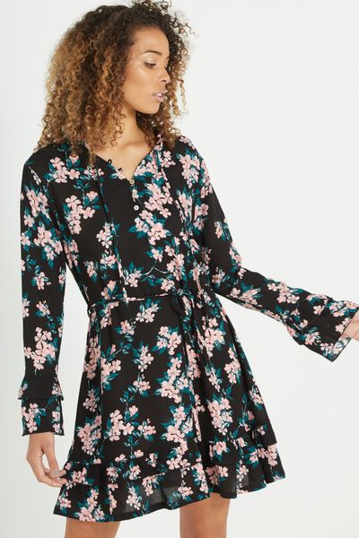 Woven Montana Drop Peplum Dress, CHERRY BLOSSOM BLACK