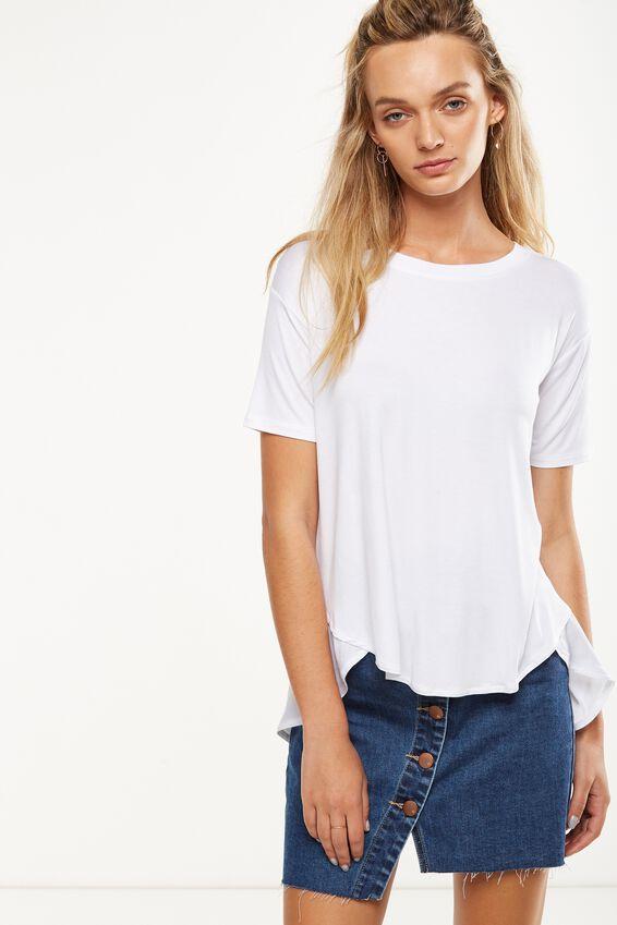 Lauren Spliced Tunic Top, WHITE