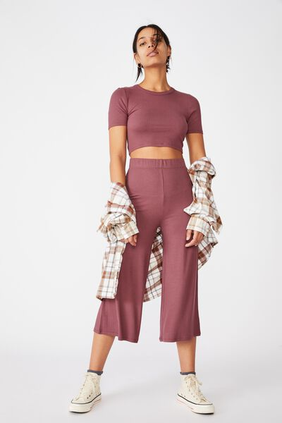 Piper Knit Rib Pant, DUSTY PLUM