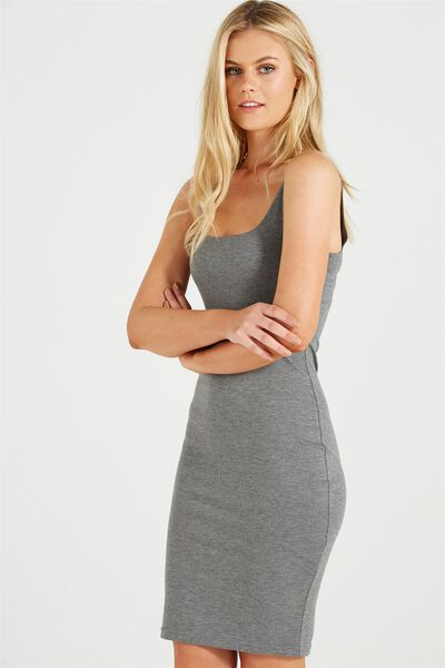 Kimi Scooped Bodycon Midi Dress, CHARCOAL