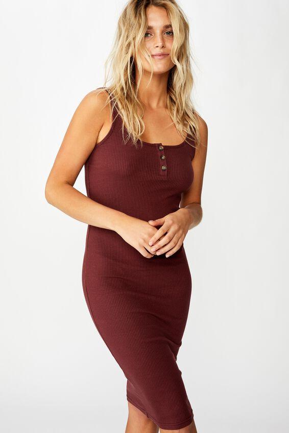Kaylee Bodycon Midi Dress, RED MAHOGANY RIB