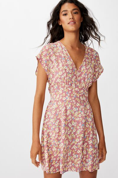Woven Ultimate Tea Dress, LILY DITSY SUMMER CASSIS
