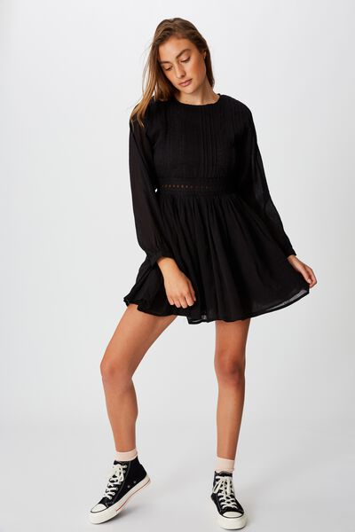 Woven Meredith Crew Neck Mini Dress, BLACK