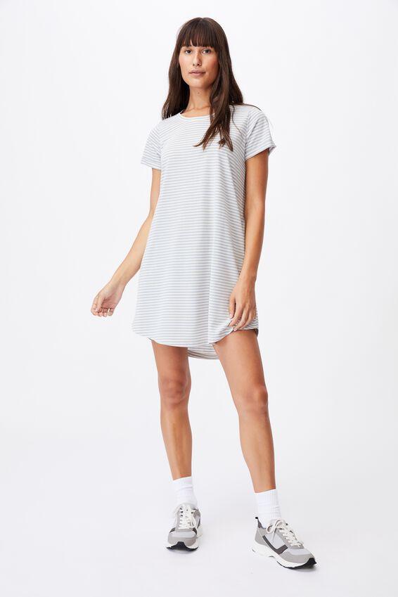 Tina Tshirt Dress 2, ANNA STRIPE SILVER BLUE