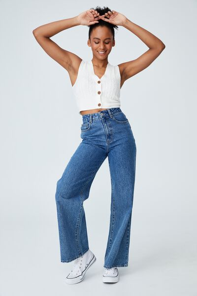 Easy Cropped Button Vest, WHITE