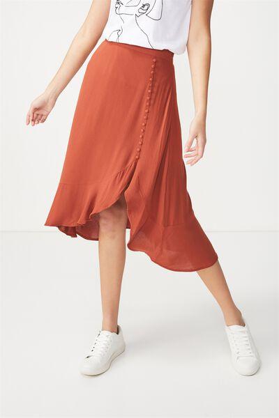 Woven Dana Drapey Midi Skirt, TERRACOTTA