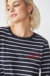 Tbar Tammy Chopped Graphic Long Sleeve Tee, LADY LUCK WHITE/MOONLIGHT STRIPE
