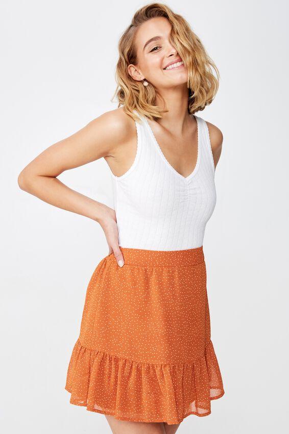 Woven Jordana Mini Skirt, AMANDA SPOT RUST TAN