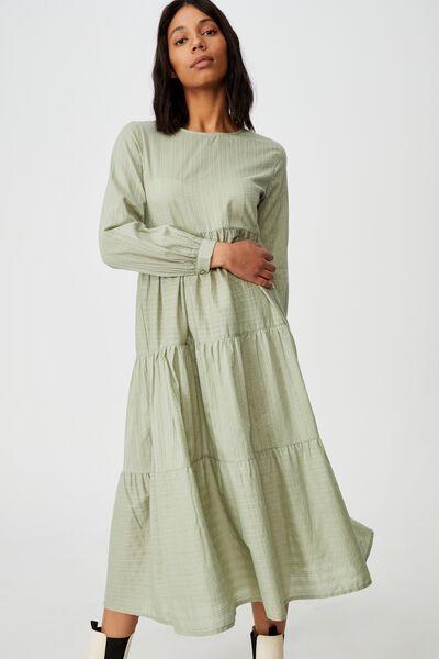 Woven Rebeka Tiered Maxi Dress, SAGE