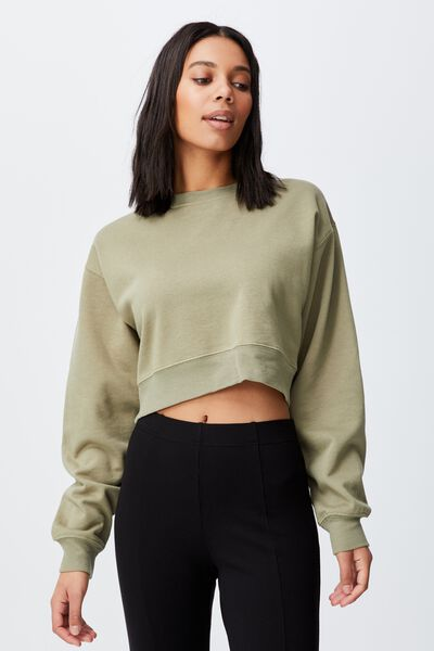 Classic Cropped Crew, SOFT MOSS