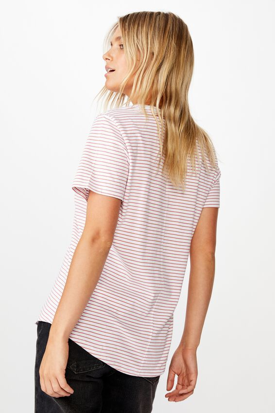 The One Fitted V Tee, JOSIE STRIPE WHITE CANYON ROSE