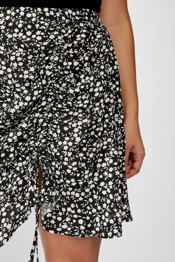 Curve Woven Coco Ruched Mini Skirt, TAYLAH DITSY PIRATE BLACK